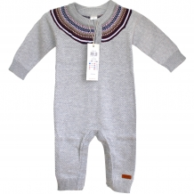 "NAME IT Baby Overall ""Otto NB SO LS"" Unisex Knit Suit 614 in Grau Melange"