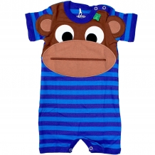 "FRED'S WORLD by GREEN COTTON Baby Overall / Spieler ""Monkey"" in Blau / Türkis (Royal Blue)"