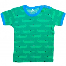 "FRED'S WORLD by GREEN COTTON Jungen T-Shirt ""Crocodile"" in Grün mit Allover-Krokodil-Print (Pepper Green)"